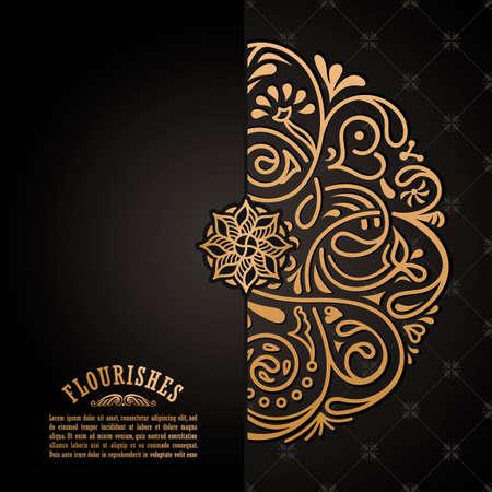 Vintage luxury decorative design of golden mandala. Vector background for greeting card Stock Vector - 124891703