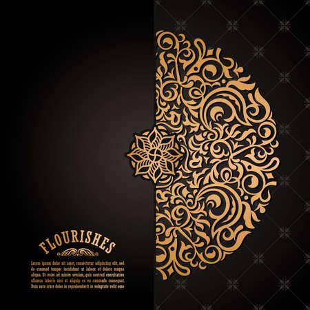 Vintage luxury decorative design of golden mandala. Vector background for greeting card Stock Vector - 124891707