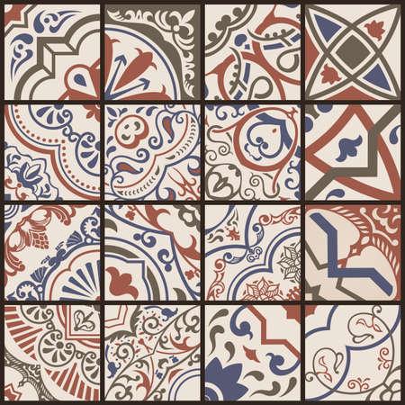 Floral seamless mosaic tile. Vector ceramic vintage pattern. Mediterranean, Ottoman, Lisbon, Spanish, Portuguese, Italian, Scandinavian, Arabic, Indian and Moroccan motifs. Color brown ornament.