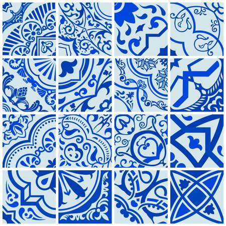 Floral seamless mosaic tile. Vector ceramic vintage pattern. Mediterranean, Ottoman, Lisbon, Spanish, Portuguese, Italian, Scandinavian, Arabic, Indian and Moroccan motifs. Navy blue ornament. Иллюстрация