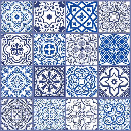 Floral seamless mosaic tile. Vector ceramic vintage pattern. Mediterranean, Ottoman, Lisbon, Spanish, Portuguese, Italian, Scandinavian, Arabic, Indian and Moroccan motifs. Navy blue ornament. Illustration