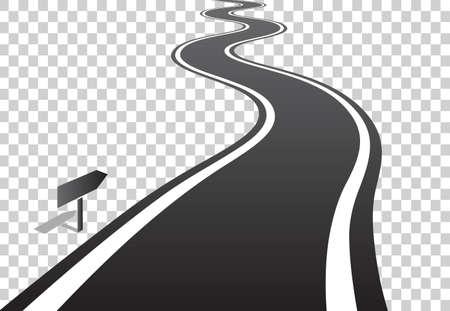 Kronkelende weg met witte lijnen die over de horizon vertrekken. Vectorillustratie op transparante achtergrond