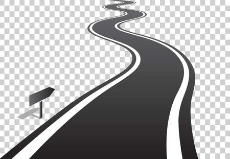 Winding road with white lines leaving over the horizon. Vector illustration on transparent background Иллюстрация