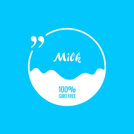 Quote blue bubble Label pack milk background Ilustracja