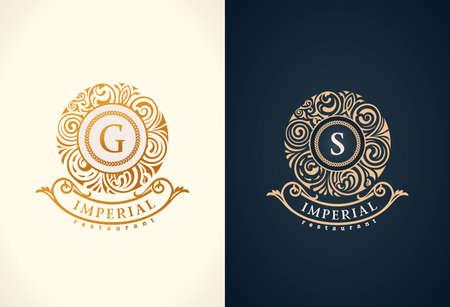 Monograma barroco floral redondo caligráfico. Emblema S
