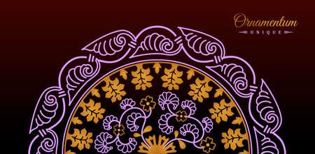 Vintage luxury decorative design of golden mandala. Vector background for greeting card Иллюстрация