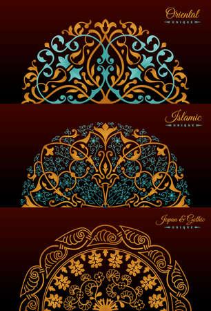 Vintage luxury decorative design of golden mandala. Vector background for greeting card Illustration