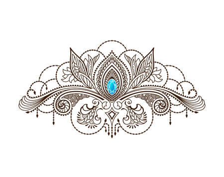 Vector henna tattoo under the breast of a girl. Mehndi floral oriental pattern. Black patterned lace with blue gem. Illustration in ethnic indian style