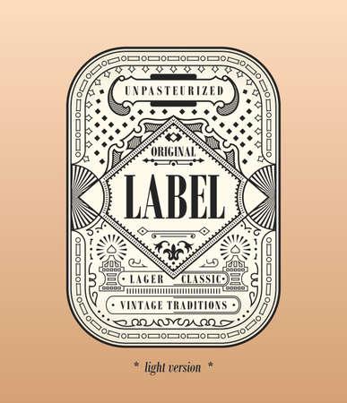 Vintage frame logo. Vector packing label. Gold sticker beer bottle