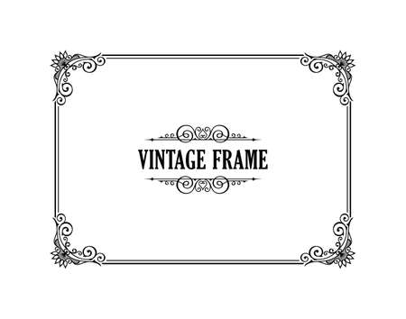 Vintage calligraphic frame. Black and white vector border of the invitation, diploma, certificate, postcard. Empty blank and place for text. Illustration