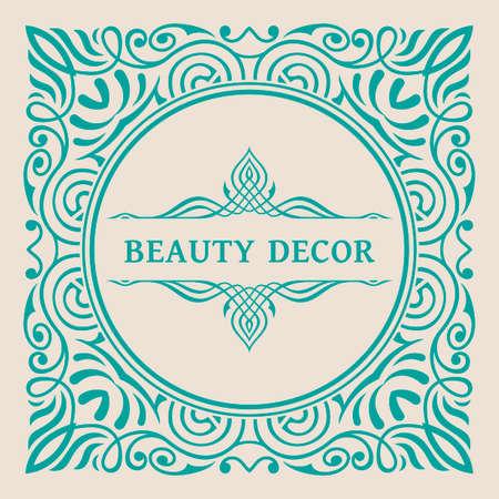 Calligraphic square Ornament Frame Lines. Restaurant menu. Luxury vintage ornate greeting card with typographic design. Иллюстрация
