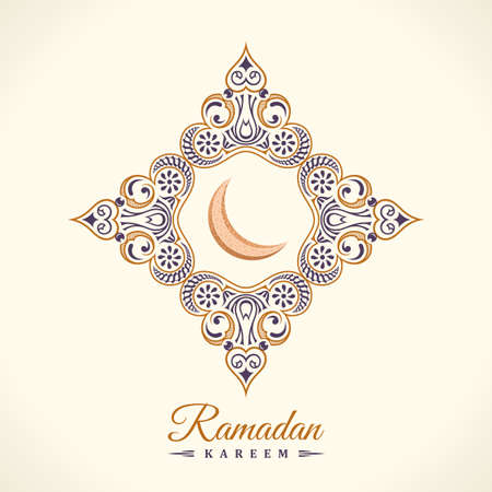 Ramadan Kareem card. Vintage banner with ornament for Arabic lamps and stars