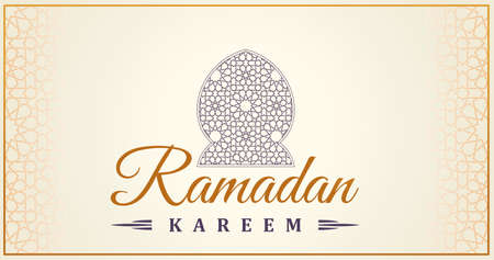 Ramadan Kareem islamic greeting card. Eastern design line mosque with arabic pattern