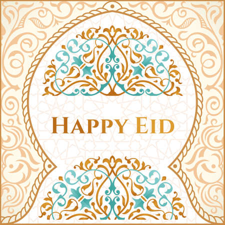 Happy Eid mubarak greeting design, happy holiday words with golden mosque and floral background