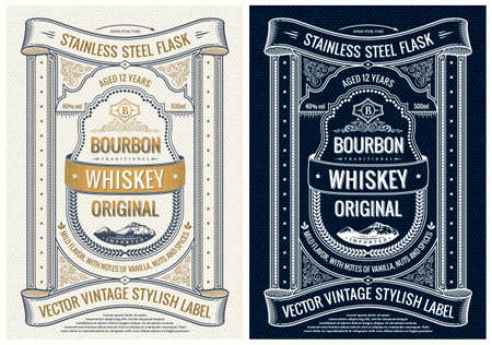 Vintage label for bottle, packing or book cover design