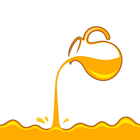 Honey is pouring from jug. Golden yellow realistic syrup or juice dripping liquid oil splashes vector template Иллюстрация