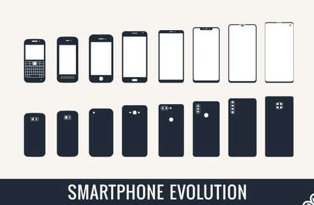 smartphone on a white background. The evolution of mobile phones, a set of modern smartphones