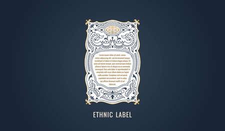 Label for modern emblem, frame badge template card. Luxury calligraphic ornate frame