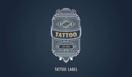 Tattoo label for modern emblem, frame badge template card. Luxury calligraphic ornate frame. Ilustracja