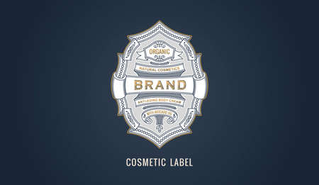 Cosmetic label for modern emblem, frame badge template card. Luxury calligraphic ornate frame. Ilustracja