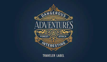 Label for adventure emblem, frame badge template card. Luxury calligraphic ornate frame