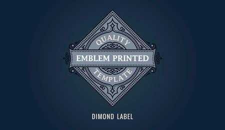 Label for dimond emblem, frame badge template card. Luxury calligraphic ornate frame
