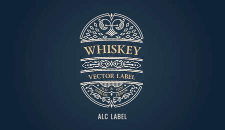Label for whiskey emblem, frame badge template card. Luxury calligraphic ornate frame
