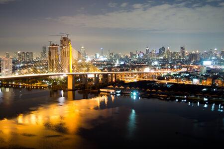 ix: Rama IX Bridge at night Stock Photo