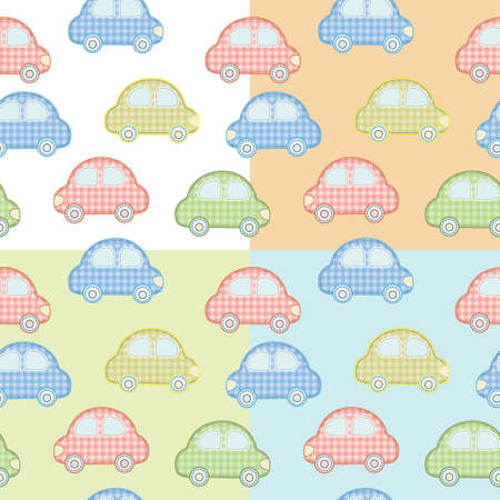 needless: pattern with colorful toy cars for boys with different backgrounds Illustration