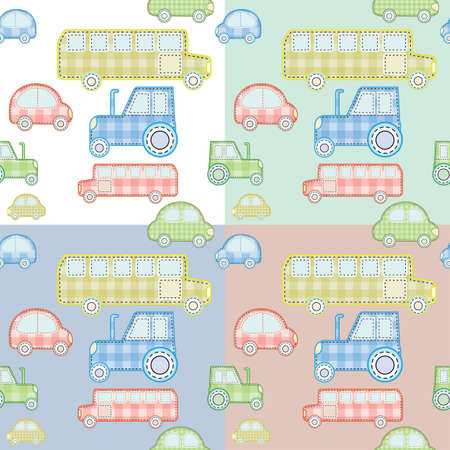 for boys: pattern with colorful toy cars for boys with different backgrounds Illustration