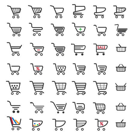 cart: Shopping cart icons set of 42 pictures for website