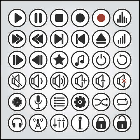 multimedia icons: sound icons and sound buttons, audio icons, audio buttons, player icons, player buttons,  icons, buttons, media icons, media buttons, multimedia icons, multimedia buttons Illustration