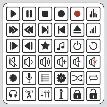correcte pictogrammen en geluid knoppen, audio-iconen, audio-knoppen, speler pictogrammen, speler knoppen, iconen, knoppen, media iconen, media knoppen, multimedia iconen, multimedia knoppen Stock Illustratie