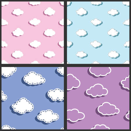 simple sky: sky pattern, clouds pattern, four patterns for kids, simple fabric pattern, textile pattern Illustration
