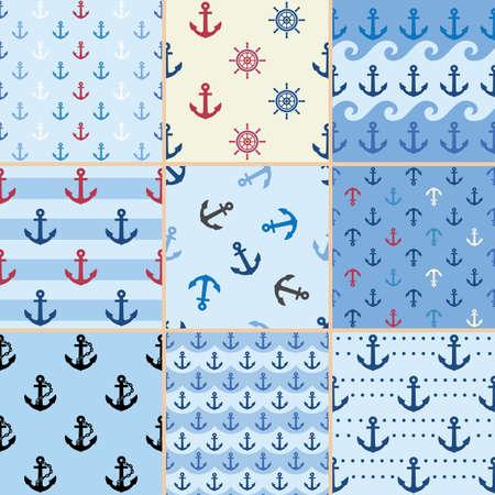 sea anchor pattern  イラスト・ベクター素材