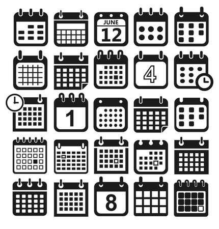 calendar design: calendar icons for web design, calendar symbol, flat calendar, graphic element, web design, calendar sign, web icons, calendar set, icon set, calendar pictogram Illustration