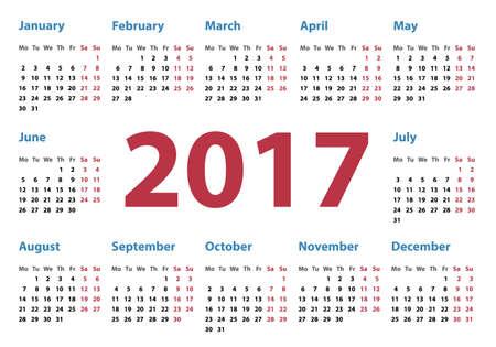 calendar design: simple calendar for 2017, calendar 2017, organizer 2017, vector calendar, pocket horizontal calendar design, horizontal calendar Illustration