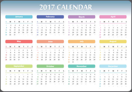 calendar design: calendar for 2017 starts sunday, calendar 2017, organizer 2017, vector calendar, pocket calendar design, horizontal calendar, colored calendar Illustration