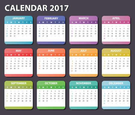 calendar 2017, starts sunday, organizer 2017,  calendar 2017, square calendar design for 2017 year, colored calendar 2017, calendar for 2017