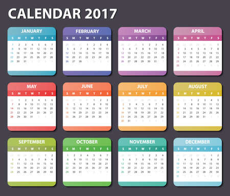 kalender 2017, begint zondag, organisator 2017, kalender 2017, vierkante kalenderontwerp voor 2017 jaar, gekleurde kalender 2017, kalender voor 2017