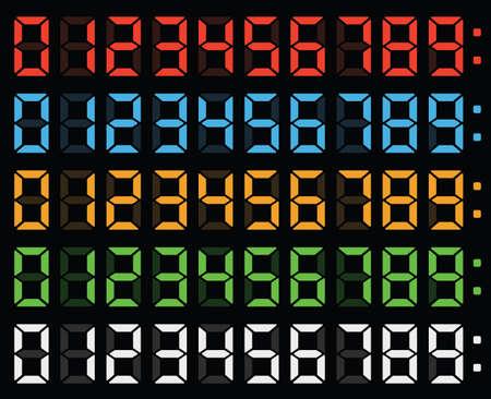 números encabezados, números, números de visualización digital, un reloj digital, la pantalla del reloj, los números de luz, resplandor, números llevaron los números en la pantalla