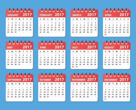 calendar design: calendar 2017, starts sunday, organizer 2017, vector calendar, calendar design, colored calendar, calendar for 2017
