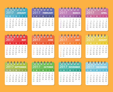 calendario 2017, comienza el domingo, organizador 2017, calendario del vector, diseño del calendario, calendario de colores, calendario para 2017 Ilustración de vector