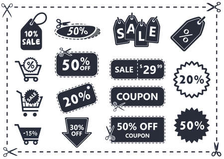 discount coupon, discount icon, sale icon, sale coupon, retail icon, cart icon, shopping cart, discount sticker, shop icon, discount icons set Illustration