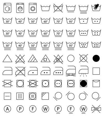 steam iron: laundry icons, washing symbols Illustration