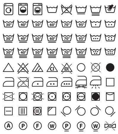 Laundry symbols, washing icons