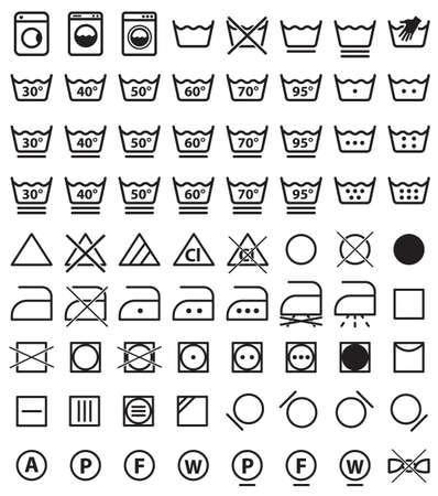 Laundry symbols, washing icons