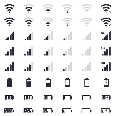 mobile interace icons, battery charge, wi-fi signal, mobile signal level icons set Vectores