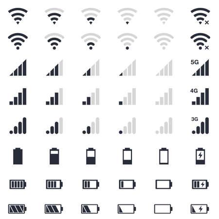mobiele interace-iconen, batterijlading, wi-fi-signaal, mobiele signaalniveau-iconen ingesteld