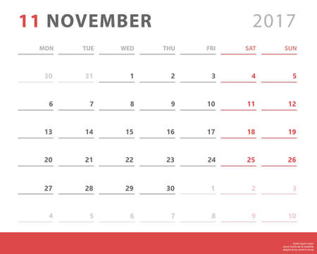 event planning: A calendar planner for november 2017 starts monday, vector calendar design 2017 year.